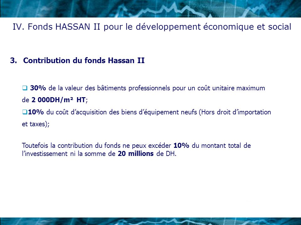 3.Contribution du fonds Hassan II IV. Fonds HASSAN II pour le développement économique et social 30% de la valeur des bâtiments professionnels pour un
