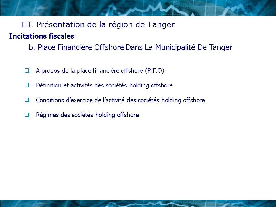 A propos de la place financière offshore (P.F.O) Définition et activités des sociétés holding offshore Conditions dexercice de lactivité des sociétés