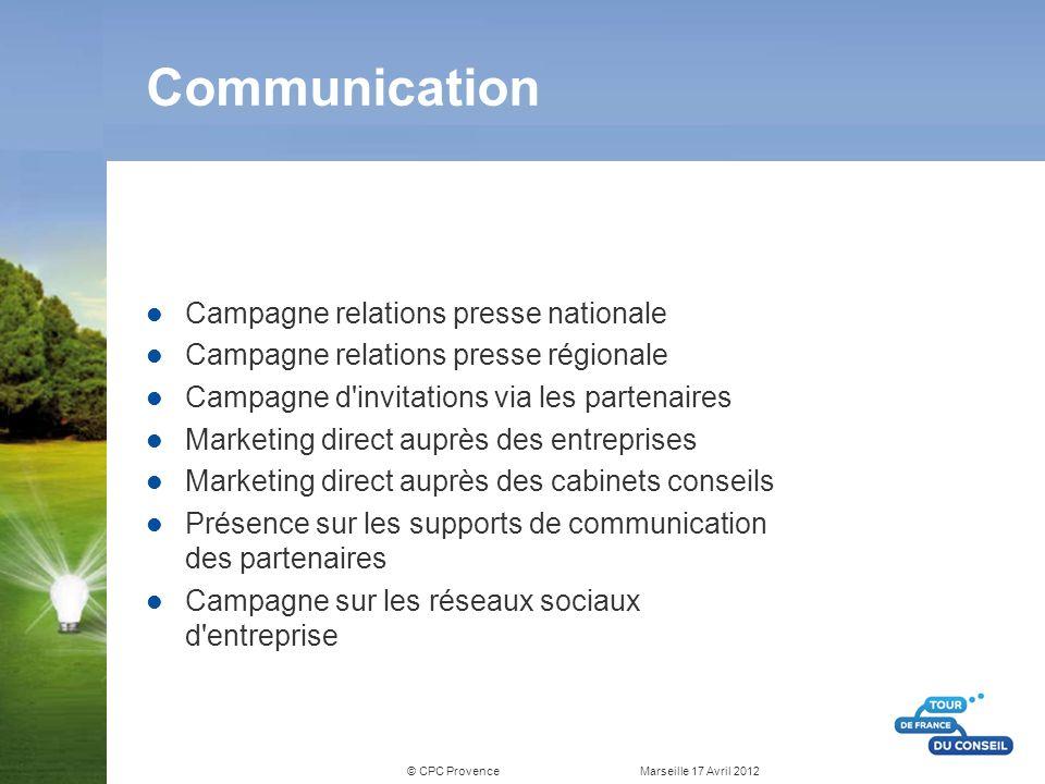 © CPC Provence Marseille 17 Avril 2012 Communication Campagne relations presse nationale Campagne relations presse régionale Campagne d'invitations vi