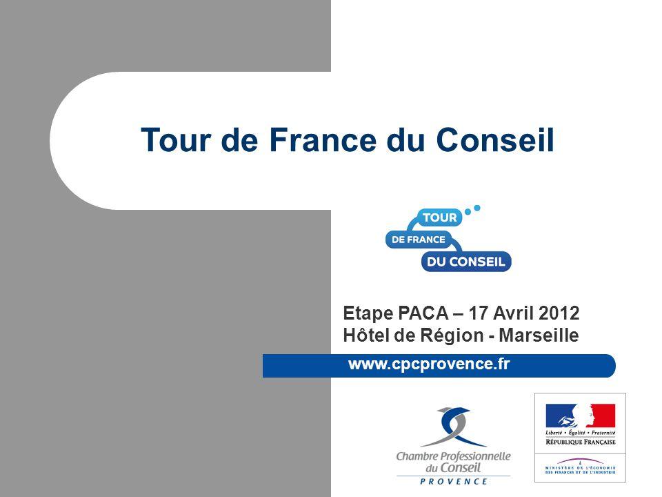 © CPC Provence Marseille 17 Avril 2012 CPC Provence Chambre Professionnelle des cabinets conseils en entreprise, fondée en 1985, sous le nom de GRAND DELTA CONSEILS Regroupe 65 cabinets en 2011 : le plus grand réseau de consultants de la région PACA (15% de la profession) Missions : Promotion du métier de consultant d entreprise en PACA.