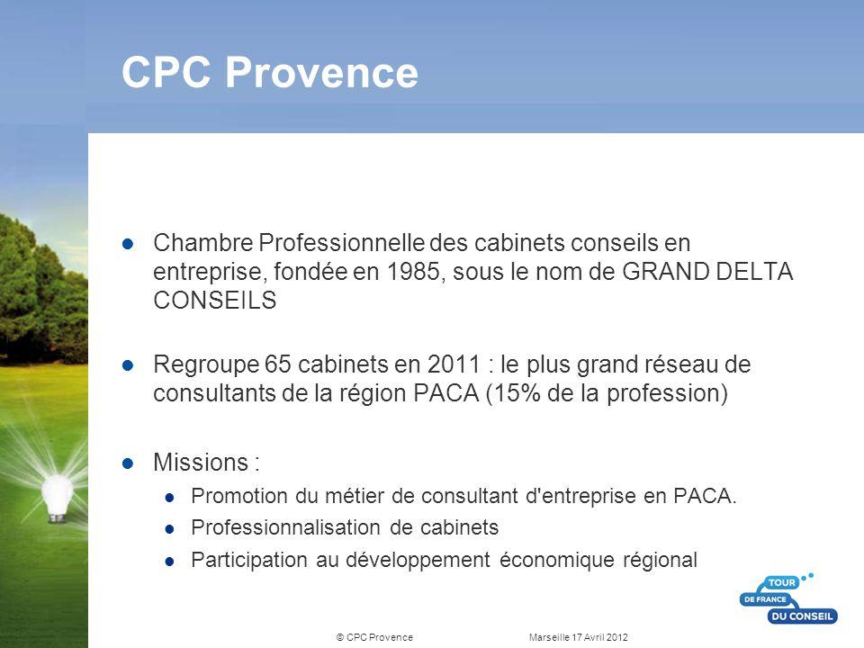 © CPC Provence Marseille 17 Avril 2012 FNCPC Fédération Nationale des Chambres professionnelles du conseil Création en 1994 Coordination des actions des 14 Chambres Professionnelles du Conseil Plus de 1600 consultants en France Représentativité nationale Reconnue par le Ministère de l Economie, des Finances et de l Indutrie