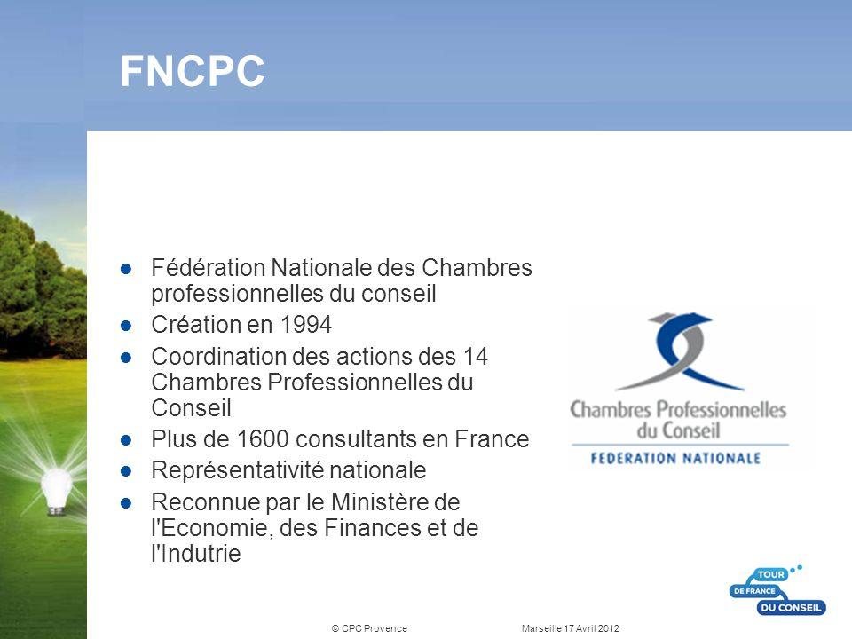 © CPC Provence Marseille 17 Avril 2012 FNCPC Fédération Nationale des Chambres professionnelles du conseil Création en 1994 Coordination des actions d