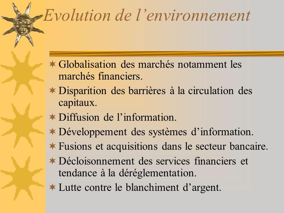 Evolution de lenvironnement Globalisation des marchés notamment les marchés financiers.