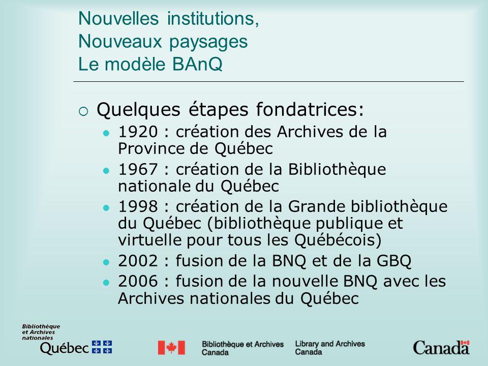 Nouvelles institutions, Nouveaux paysages Le modèle BAnQ Quelques étapes fondatrices: 1920 : création des Archives de la Province de Québec 1967 : cré