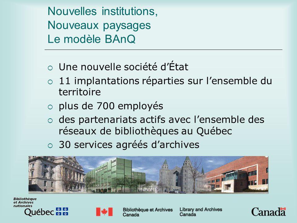 Nouvelles institutions, Nouveaux paysages Le modèle BAnQ Une nouvelle société dÉtat 11 implantations réparties sur lensemble du territoire plus de 700