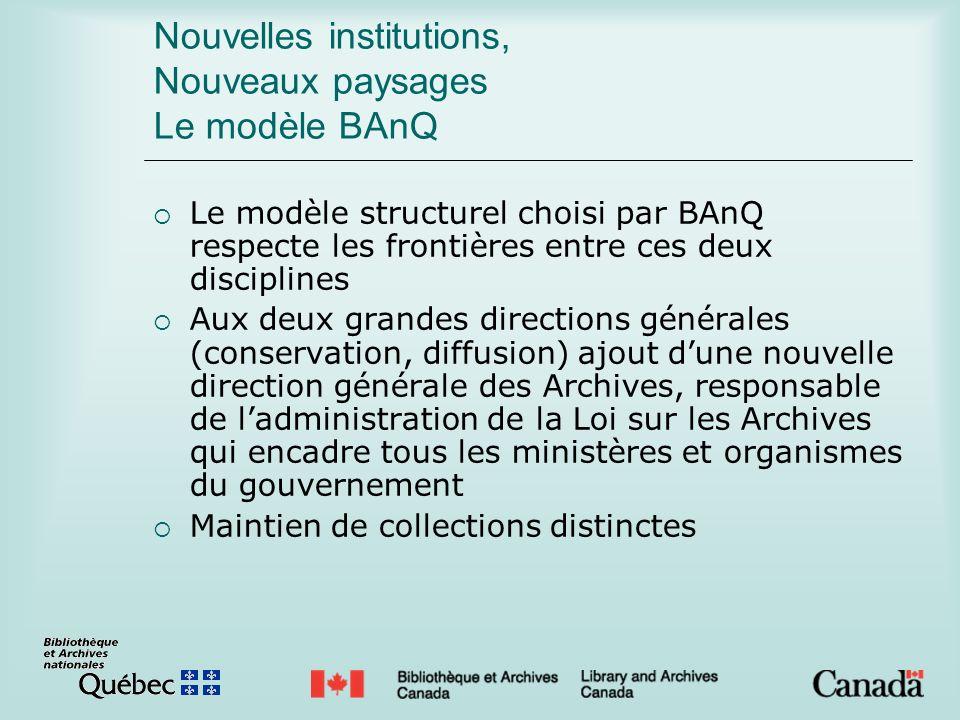 Nouvelles institutions, Nouveaux paysages Le modèle BAnQ Le modèle structurel choisi par BAnQ respecte les frontières entre ces deux disciplines Aux d