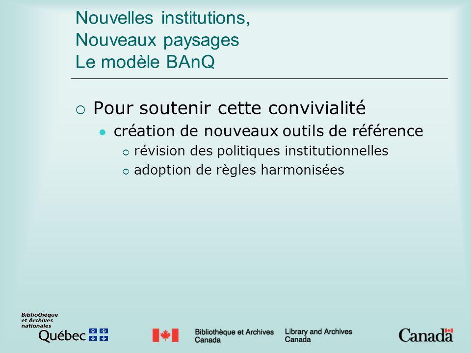Nouvelles institutions, Nouveaux paysages Le modèle BAnQ Pour soutenir cette convivialité création de nouveaux outils de référence révision des politiques institutionnelles adoption de règles harmonisées