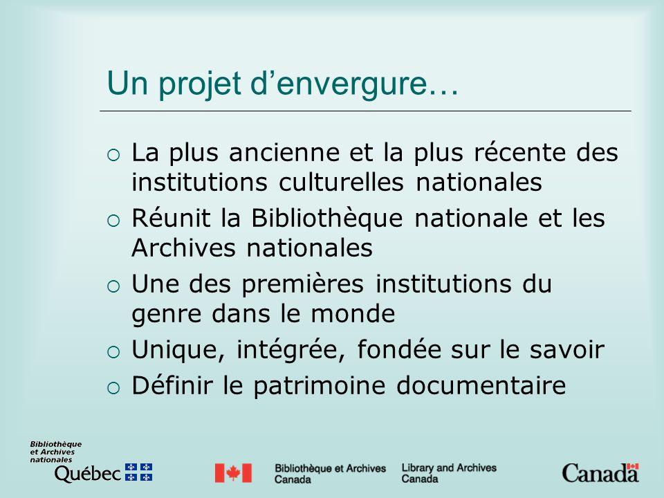 Un projet denvergure… La plus ancienne et la plus récente des institutions culturelles nationales Réunit la Bibliothèque nationale et les Archives nat