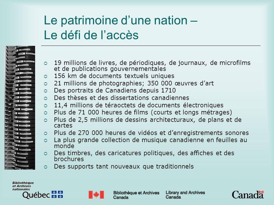 Le patrimoine dune nation – Le défi de laccès 19 millions de livres, de périodiques, de journaux, de microfilms et de publications gouvernementales 15
