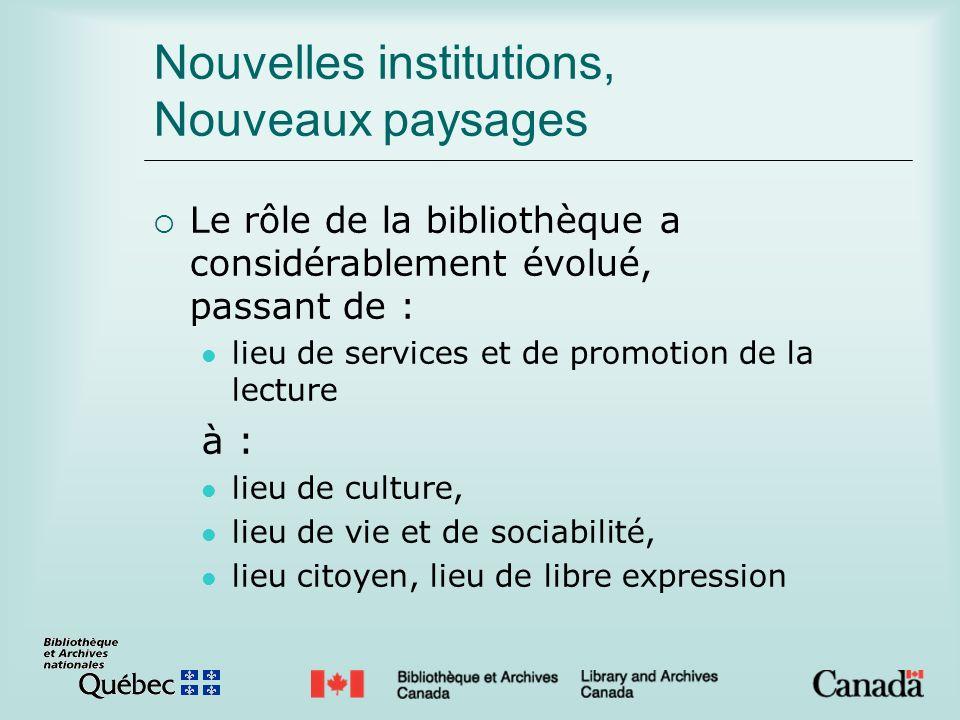 Nouvelles institutions, Nouveaux paysages Le rôle de la bibliothèque a considérablement évolué, passant de : lieu de services et de promotion de la lecture à : lieu de culture, lieu de vie et de sociabilité, lieu citoyen, lieu de libre expression