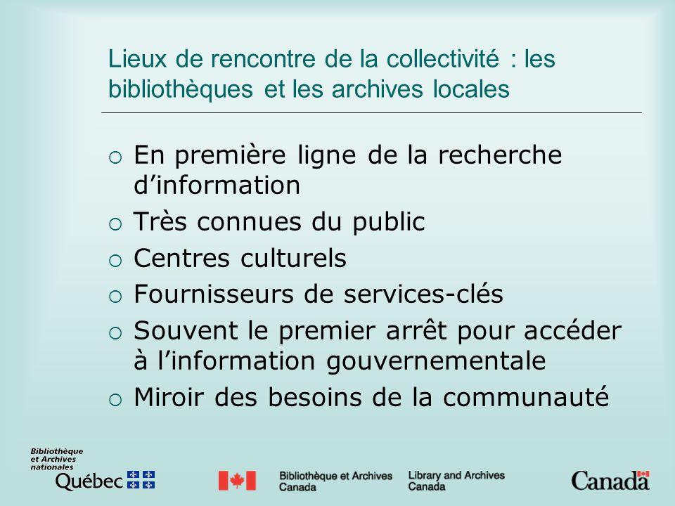 Lieux de rencontre de la collectivité : les bibliothèques et les archives locales En première ligne de la recherche dinformation Très connues du publi