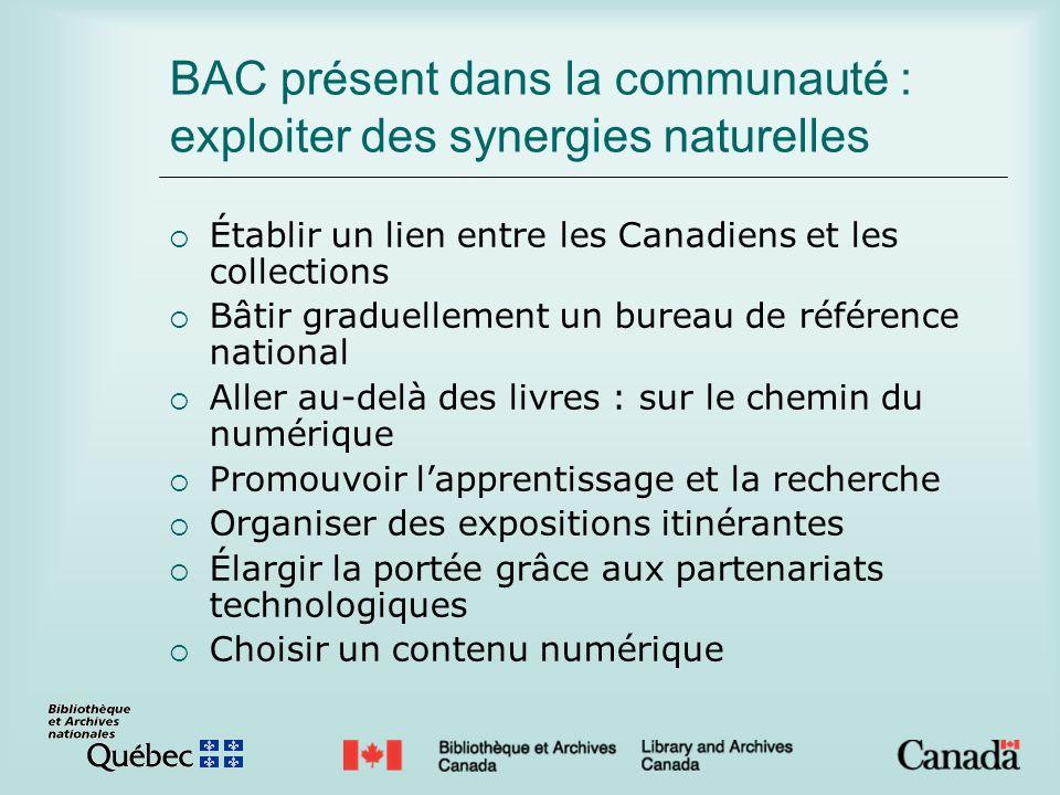 BAC présent dans la communauté : exploiter des synergies naturelles Établir un lien entre les Canadiens et les collections Bâtir graduellement un bure
