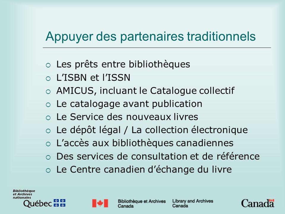 Appuyer des partenaires traditionnels Les prêts entre bibliothèques LISBN et lISSN AMICUS, incluant le Catalogue collectif Le catalogage avant publica