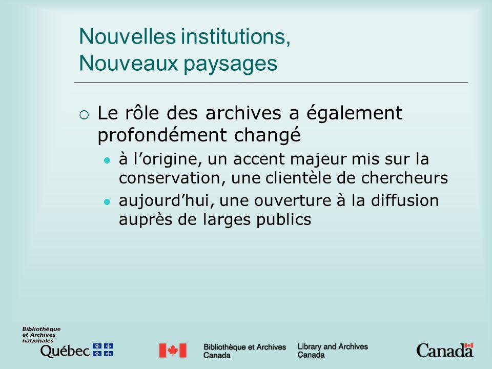 Nouvelles institutions, Nouveaux paysages Le rôle des archives a également profondément changé à lorigine, un accent majeur mis sur la conservation, une clientèle de chercheurs aujourdhui, une ouverture à la diffusion auprès de larges publics