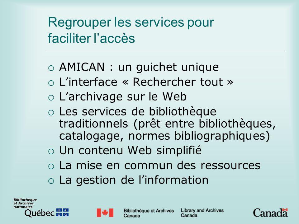Regrouper les services pour faciliter laccès AMICAN : un guichet unique Linterface « Rechercher tout » Larchivage sur le Web Les services de bibliothè