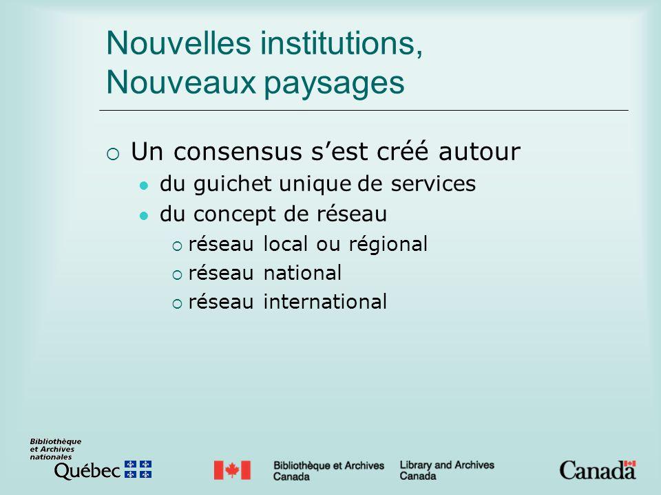Nouvelles institutions, Nouveaux paysages Un consensus sest créé autour du guichet unique de services du concept de réseau réseau local ou régional réseau national réseau international