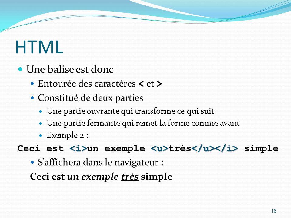 HTML Une balise est donc Entourée des caractères Constitué de deux parties Une partie ouvrante qui transforme ce qui suit Une partie fermante qui remet la forme comme avant Exemple 2 : Ceci est un exemple très simple Saffichera dans le navigateur : Ceci est un exemple très simple 18