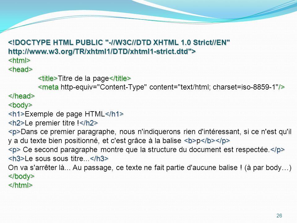 26 <html><head> Titre de la page </head><body> Exemple de page HTML Le premier titre .