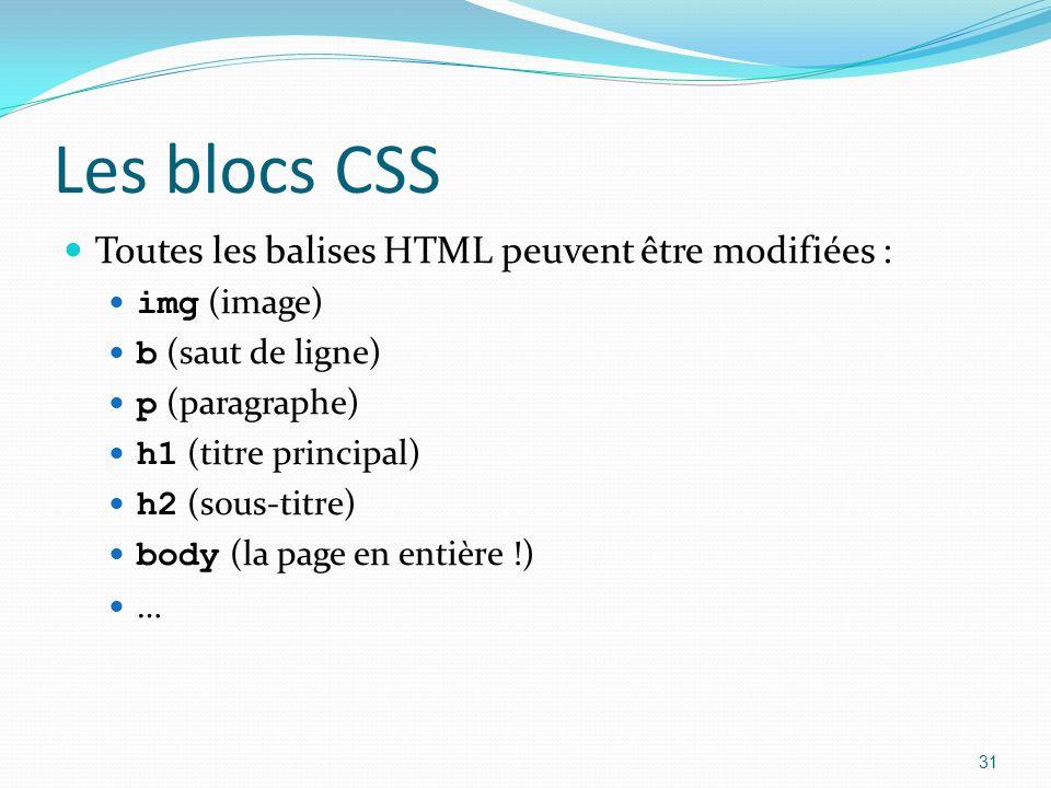 Les blocs CSS Toutes les balises HTML peuvent être modifiées : img (image) b (saut de ligne) p (paragraphe) h1 (titre principal) h2 (sous-titre) body (la page en entière !) … 31
