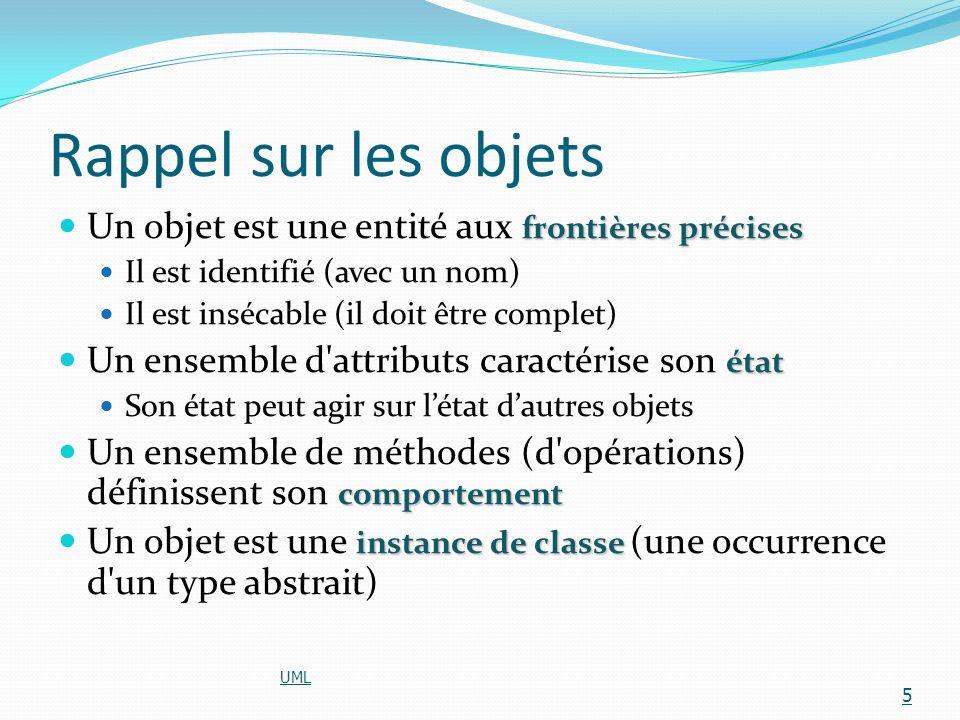 Notions fondamentales dobjetclasse la notion dobjet et de classe (d objets) Lencapsulation Lencapsulation (les interfaces des objets) Lhéritage Lhéritage (les hiérarchies d objets) Lagrégation Lagrégation (la construction d objets à l aide dautres objets) UML 6