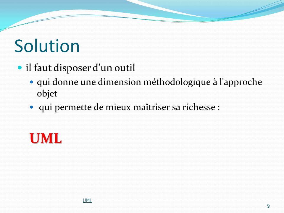Solution il faut disposer d'un outil qui donne une dimension méthodologique à l'approche objet qui permette de mieux maîtriser sa richesse :UML UML 9