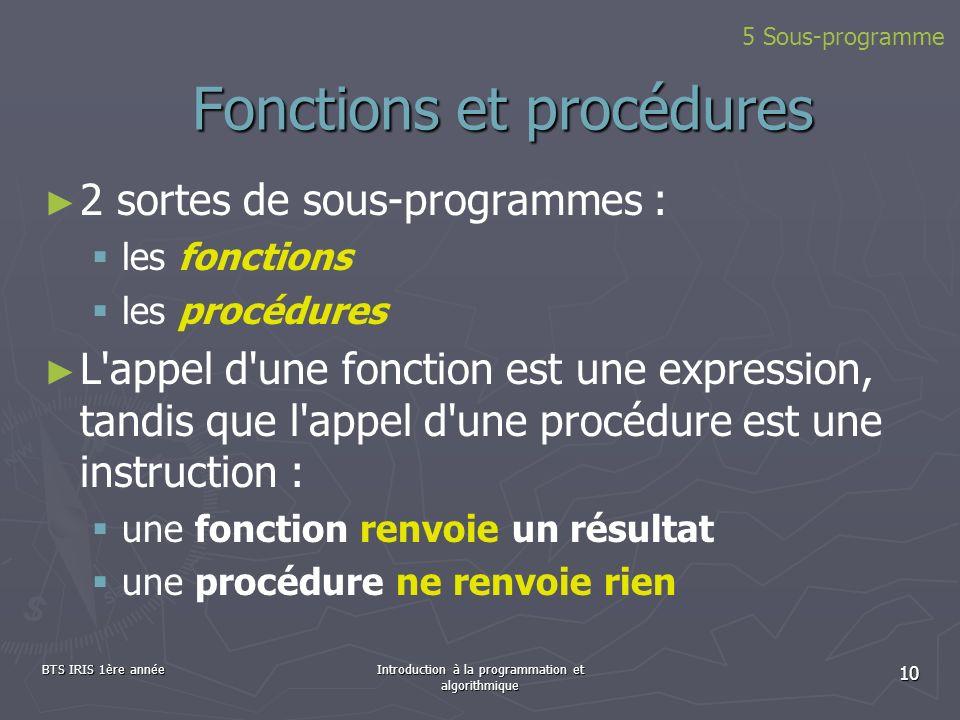 BTS IRIS 1ère annéeIntroduction à la programmation et algorithmique 10 Fonctions et procédures 2 sortes de sous-programmes : les fonctions les procédu