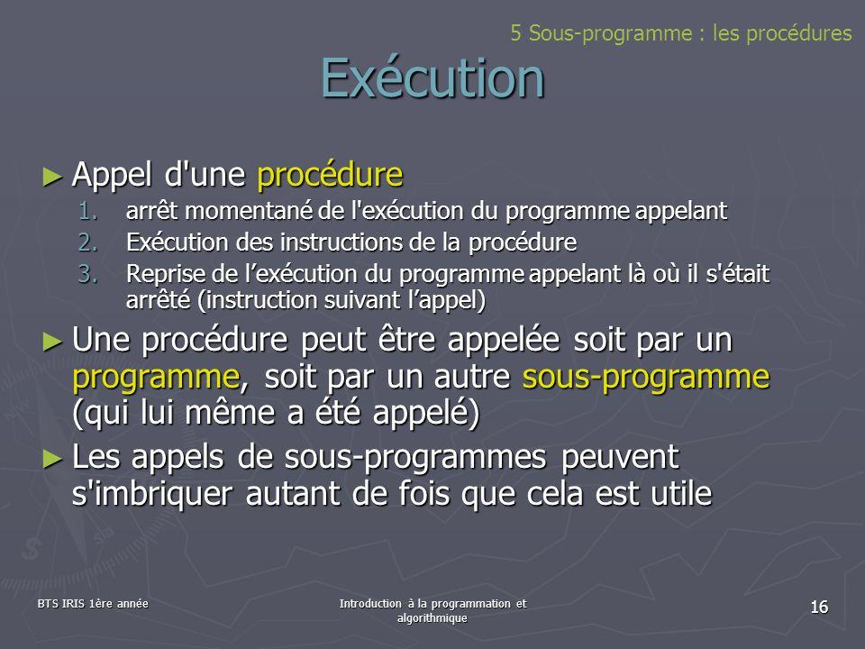 BTS IRIS 1ère annéeIntroduction à la programmation et algorithmique 16 Exécution Appel d'une procédure Appel d'une procédure 1.arrêt momentané de l'ex