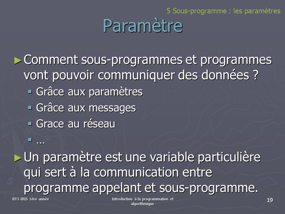 BTS IRIS 1ère annéeIntroduction à la programmation et algorithmique 19 Paramètre Comment sous-programmes et programmes vont pouvoir communiquer des do