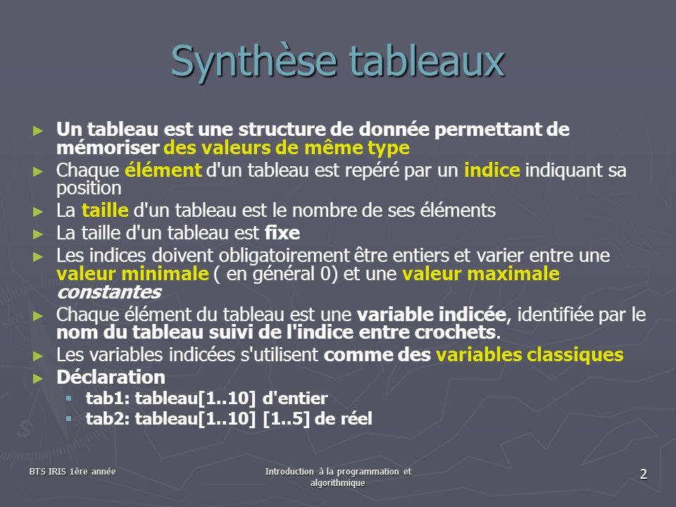 BTS IRIS 1ère annéeIntroduction à la programmation et algorithmique 2 Synthèse tableaux Un tableau est une structure de donnée permettant de mémoriser
