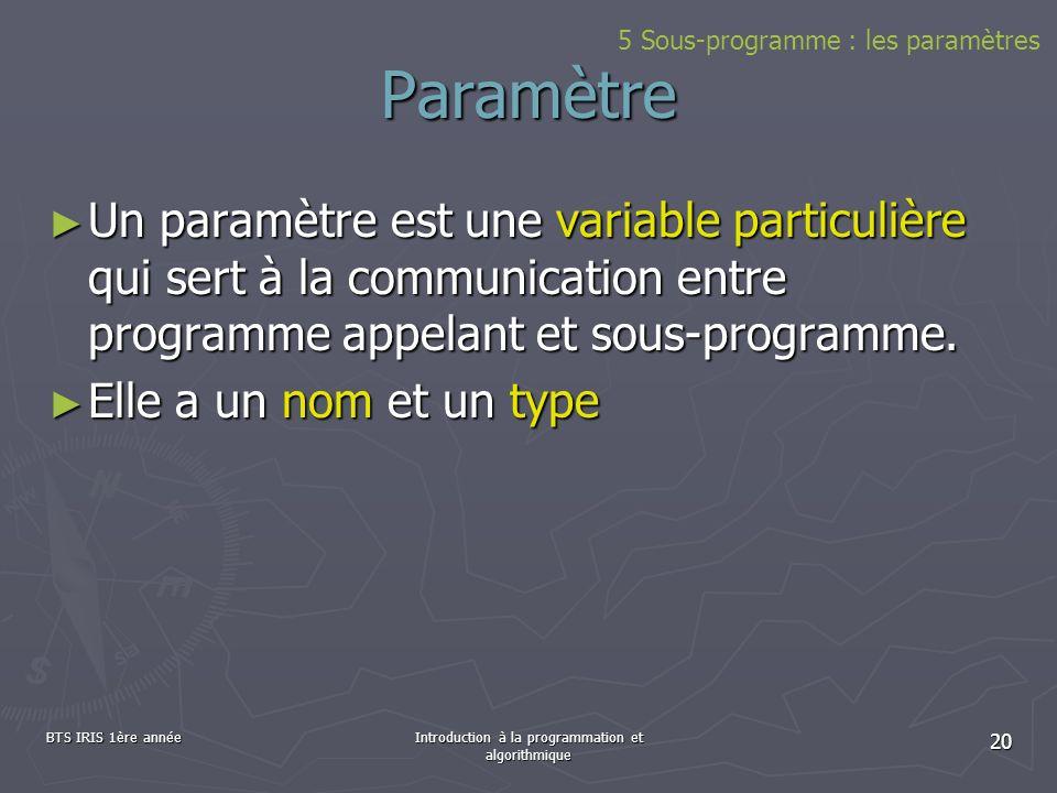 BTS IRIS 1ère annéeIntroduction à la programmation et algorithmique 20 Paramètre Un paramètre est une variable particulière qui sert à la communicatio