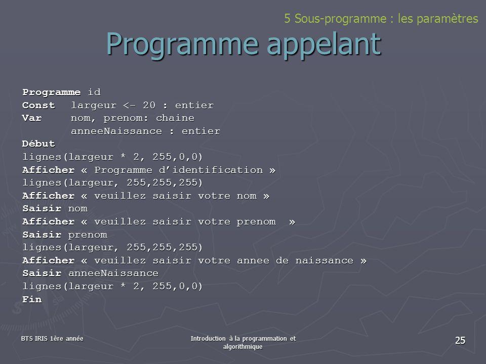 BTS IRIS 1ère annéeIntroduction à la programmation et algorithmique 25 Programme appelant Programme id Constlargeur <- 20 : entier Varnom, prenom: cha