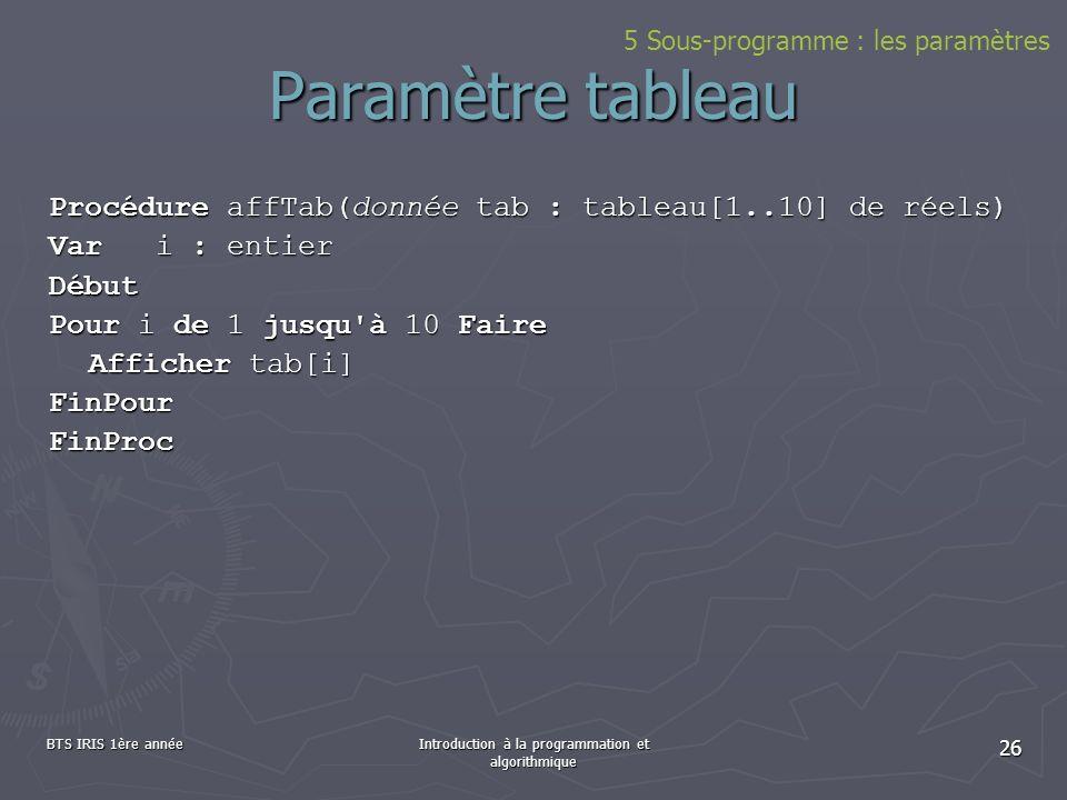 BTS IRIS 1ère annéeIntroduction à la programmation et algorithmique 26 Paramètre tableau Procédure affTab(donnée tab : tableau[1..10] de réels) Vari :