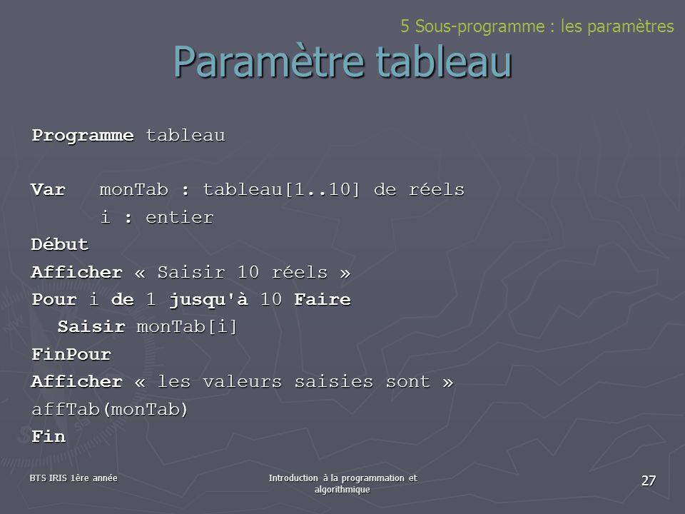 BTS IRIS 1ère annéeIntroduction à la programmation et algorithmique 27 Paramètre tableau Programme tableau VarmonTab : tableau[1..10] de réels i : ent