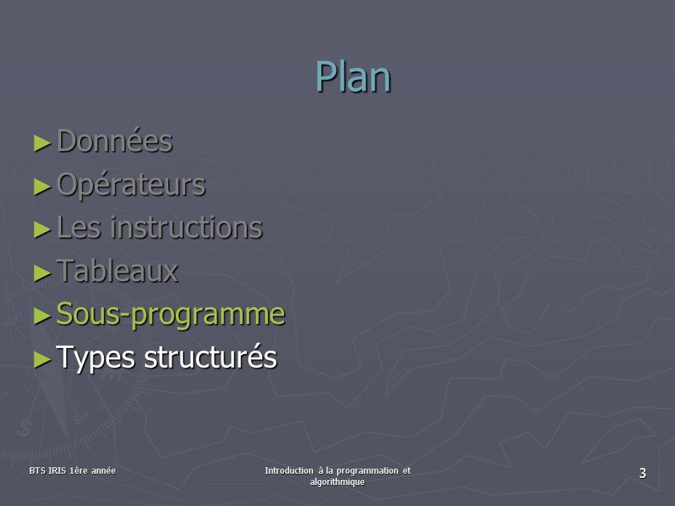 BTS IRIS 1ère annéeIntroduction à la programmation et algorithmique 14 Appel dune procédure Pour déclencher l exécution d une procédure dans un programme, il suffit de l appeler : Pour déclencher l exécution d une procédure dans un programme, il suffit de l appeler : indiquer son nom suivi de parenthèses indiquer son nom suivi de parenthèses PROGRAMME monProgr VARvarEntier1 : entier varChaine : chaîne DEBUT /*instuctions*/ maProcedure() /*instuctions*/ FIN 5 Sous-programme : les procédures