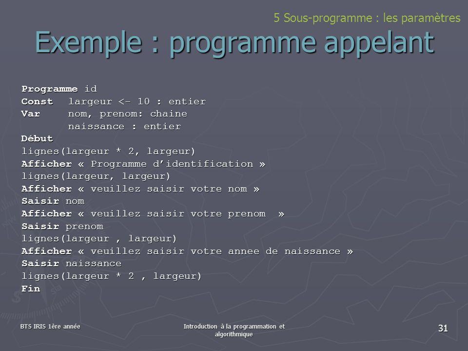 BTS IRIS 1ère annéeIntroduction à la programmation et algorithmique 31 Exemple : programme appelant Programme id Constlargeur <- 10 : entier Varnom, p