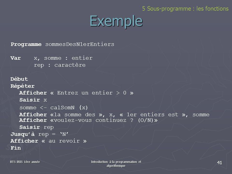 BTS IRIS 1ère annéeIntroduction à la programmation et algorithmique 41 5 Sous-programme : les fonctions Exemple Programme sommesDesN1erEntiers Var x,