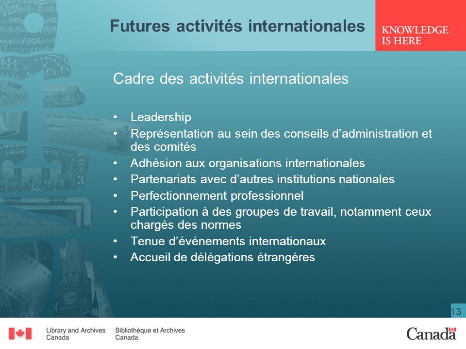 13 Futures activités internationales Cadre des activités internationales Leadership Représentation au sein des conseils dadministration et des comités