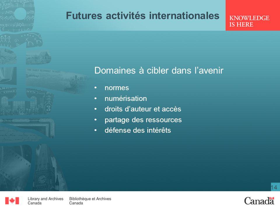 14 Futures activités internationales Domaines à cibler dans lavenir normes numérisation droits dauteur et accès partage des ressources défense des int