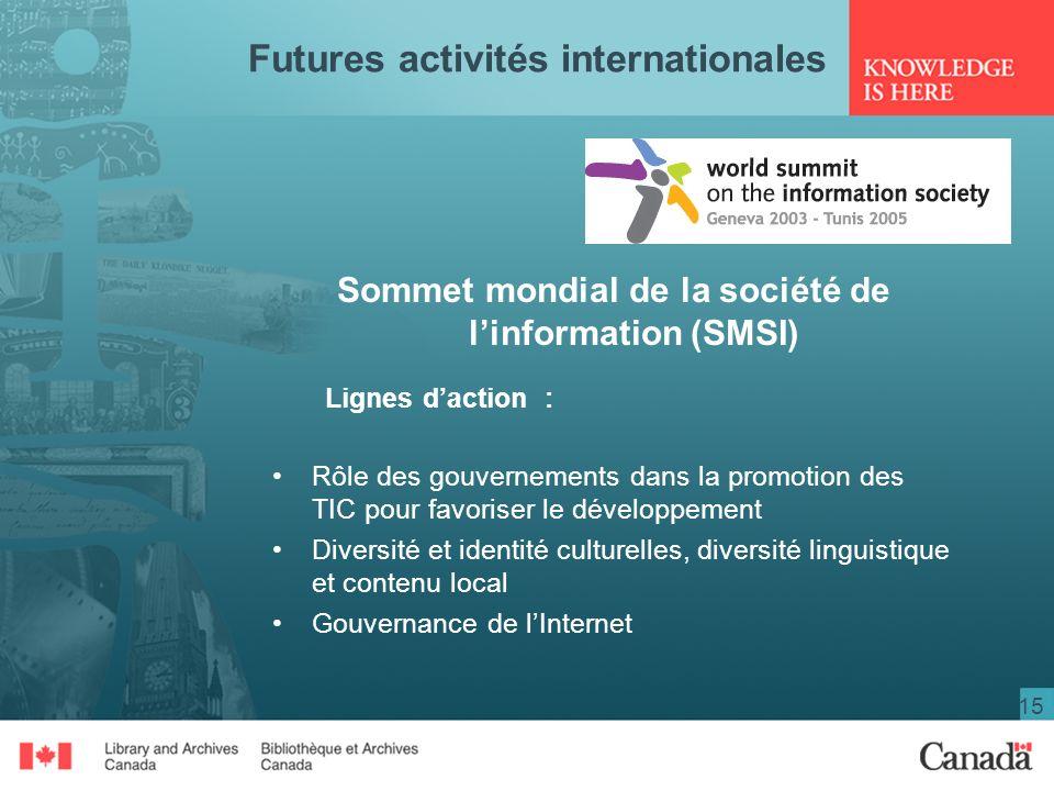 15 Futures activités internationales Sommet mondial de la société de linformation (SMSI) Lignes daction : Rôle des gouvernements dans la promotion des