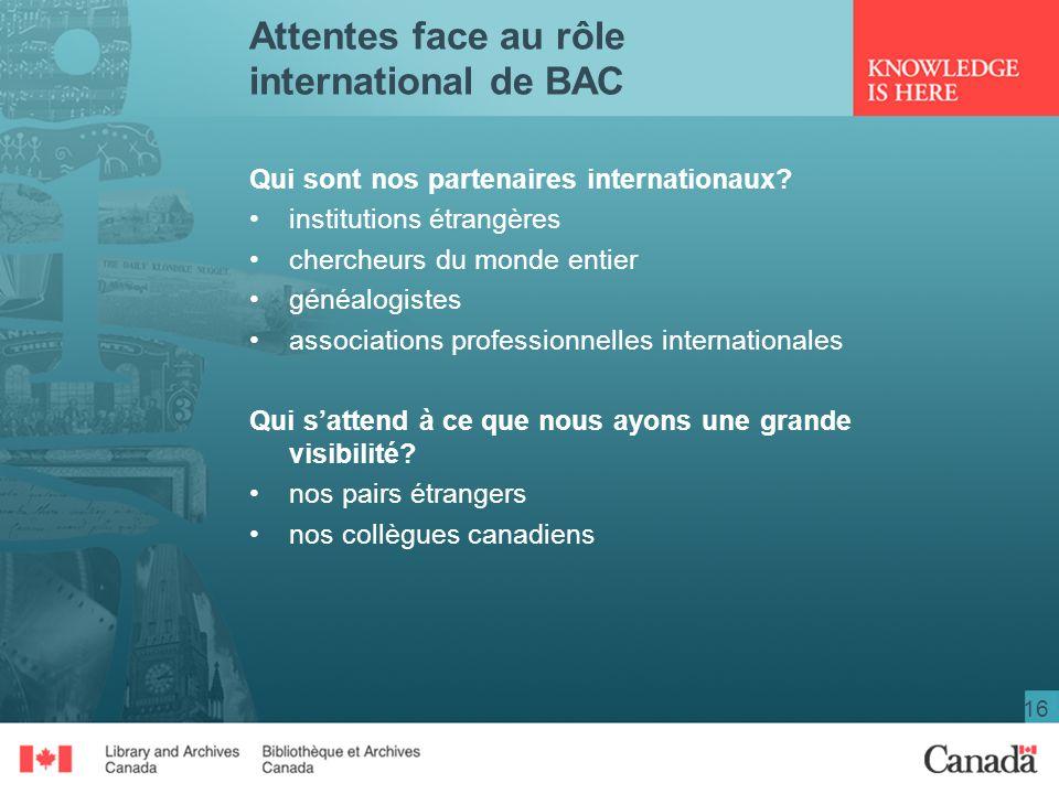 16 Attentes face au rôle international de BAC Qui sont nos partenaires internationaux? institutions étrangères chercheurs du monde entier généalogiste