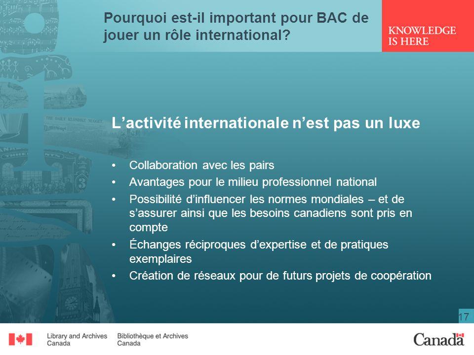 17 Pourquoi est-il important pour BAC de jouer un rôle international? Lactivité internationale nest pas un luxe Collaboration avec les pairs Avantages
