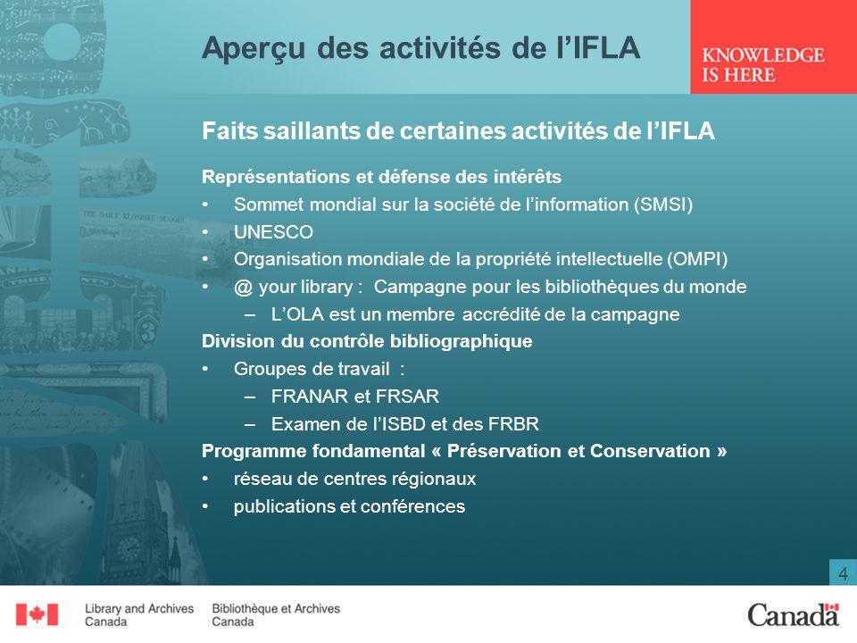 4 Aperçu des activités de lIFLA Faits saillants de certaines activités de lIFLA Représentations et défense des intérêts Sommet mondial sur la société