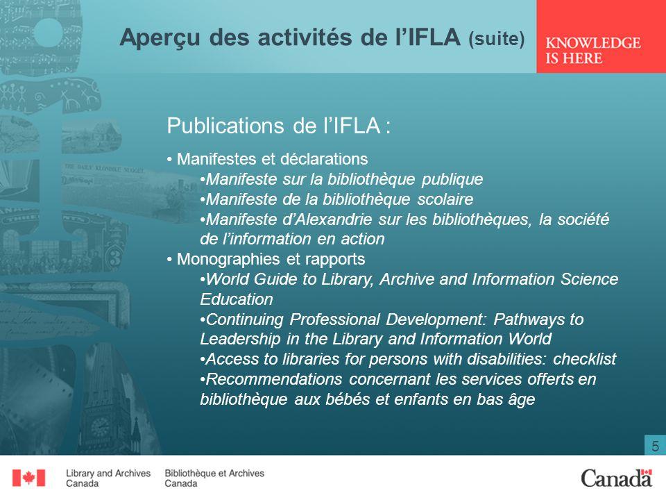 5 Aperçu des activités de lIFLA (suite) Publications de lIFLA : Manifestes et déclarations Manifeste sur la bibliothèque publique Manifeste de la bibl