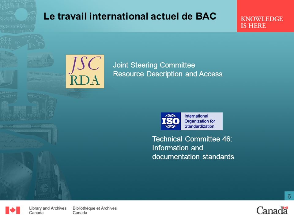 6 Le travail international actuel de BAC Joint Steering Committee Resource Description and Access Technical Committee 46: Information and documentation standards