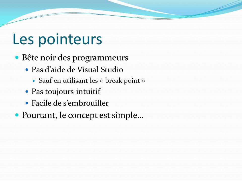 Les pointeurs Bête noir des programmeurs Pas daide de Visual Studio Sauf en utilisant les « break point » Pas toujours intuitif Facile de sembrouiller Pourtant, le concept est simple…
