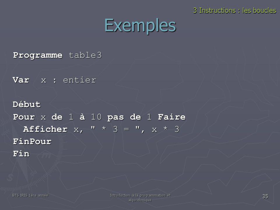 BTS IRIS 1ère annéeIntroduction à la programmation et algorithmique 35 Exemples Programme table3 Var x : entier Début Pour x de 1 à 10 pas de 1 Faire