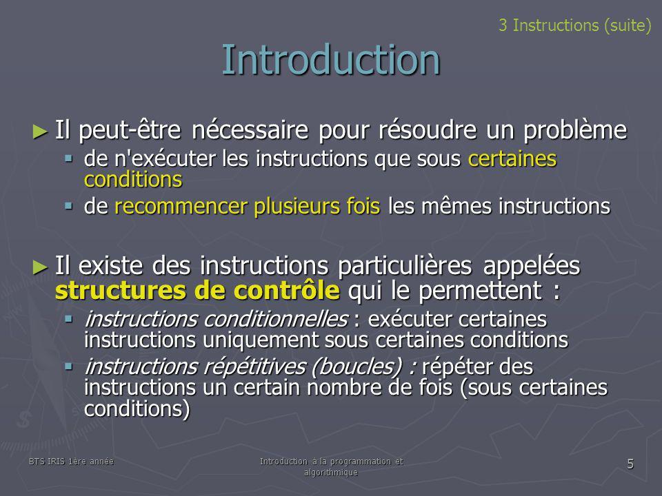 BTS IRIS 1ère annéeIntroduction à la programmation et algorithmique 5 Introduction Il peut-être nécessaire pour résoudre un problème Il peut-être néce