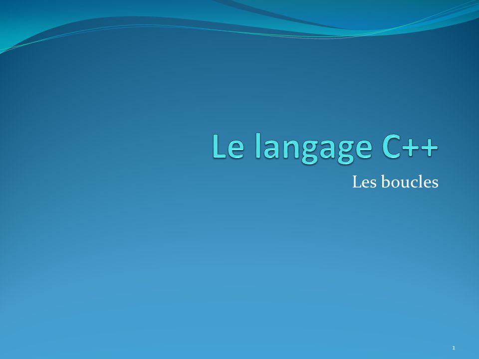 Les boucles en C++ 2 Pseudo-codeC++ Tant que … Fairewhile Pourfor Répéter … Jusqu àdo...while