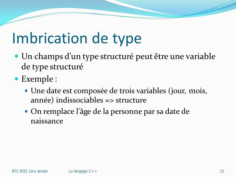 Imbrication de type Un champs dun type structuré peut être une variable de type structuré Exemple : Une date est composée de trois variables (jour, mo