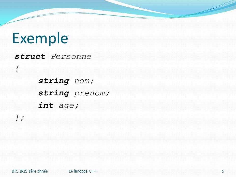 Exemple struct Personne { string nom; string prenom; int age; }; BTS IRIS 1ère annéeLe langage C++5